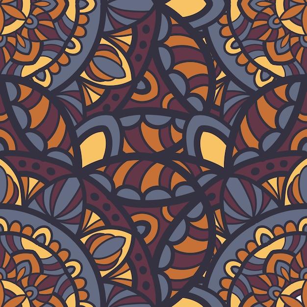 Mandala naadloze patroon vector ontwerp voor afdrukken. tribal ornament. Premium Vector