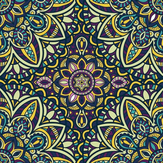 Mandala naadloze patroon vector ontwerp voor behang. tribal ornament. Premium Vector