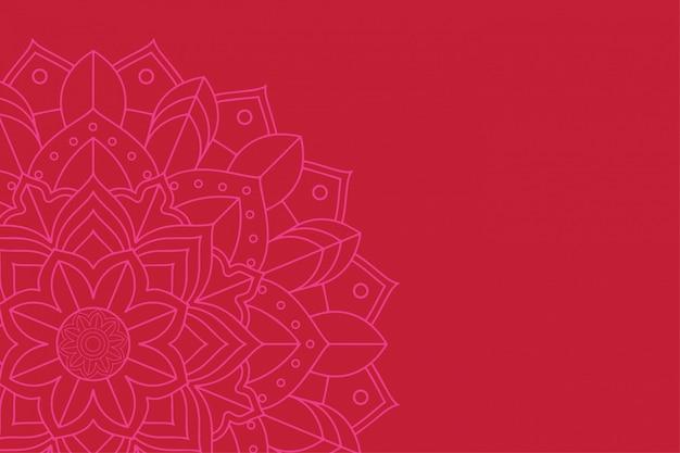 Mandala-ontwerp op rode achtergrond Gratis Vector