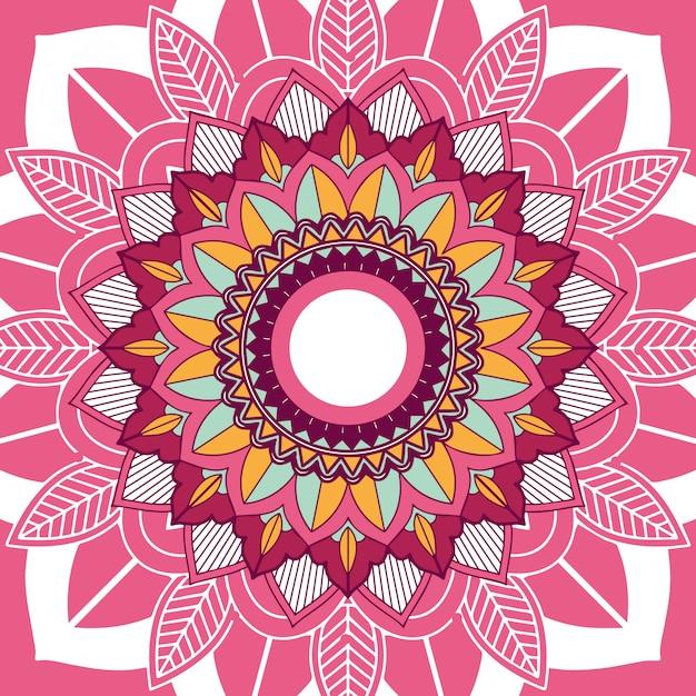 Mandala-ontwerp op roze achtergrond Gratis Vector