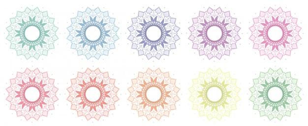 Mandala-patronen in vele kleuren Gratis Vector