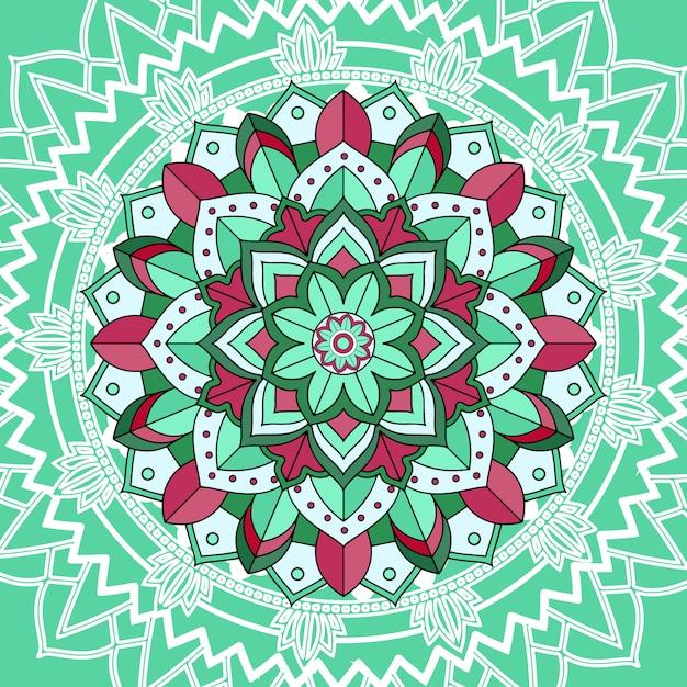 Mandala-patronen op groene achtergrond Gratis Vector