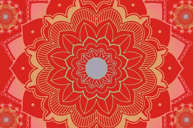 Mandala-patronen op rode achtergrond Gratis Vector