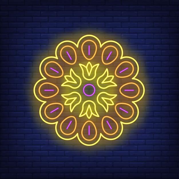 Mandala patroon neon teken Gratis Vector