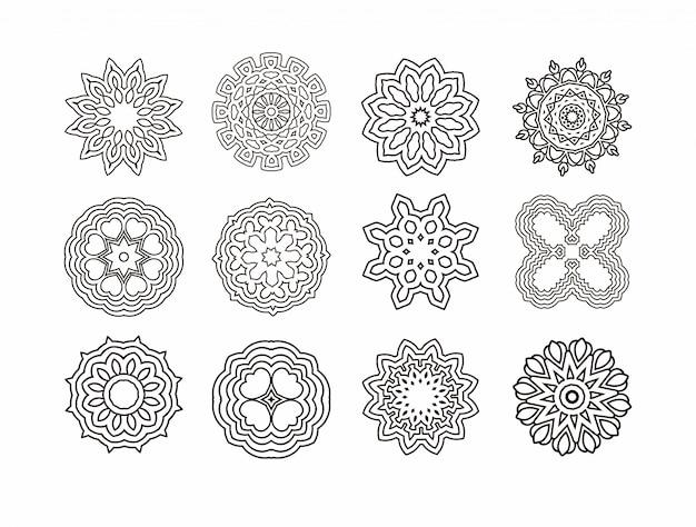 Mandala rond ornament. vintage decoratieve elementen Premium Vector