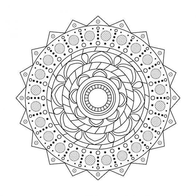 Mandala rond ornamentpatroon backgrund Premium Vector