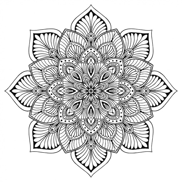 Mandala's kleurboek, bloemvorm, oosterse therapie, yogaemblemen vector. Premium Vector