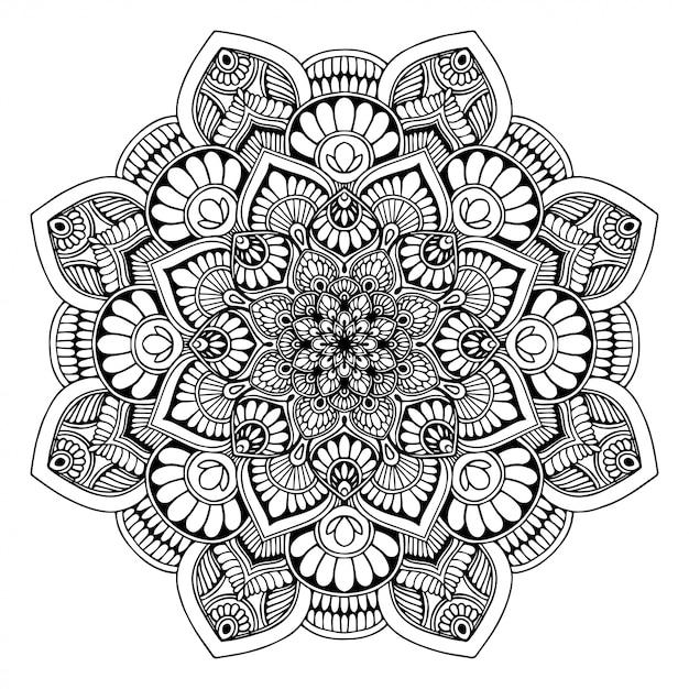 Mandala's kleurboek, oosterse therapie, yoga Premium Vector
