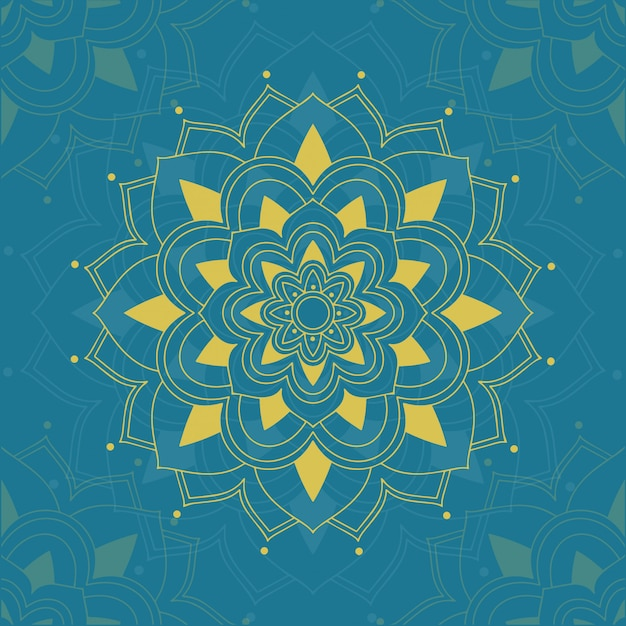 Mandala's patroon op blauwe achtergrond Gratis Vector