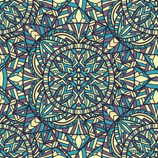Mandala vector naadloze patroon achtergrond. tribal sieraad. Premium Vector