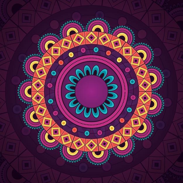 Mandala vintage decoratief etnisch element Gratis Vector