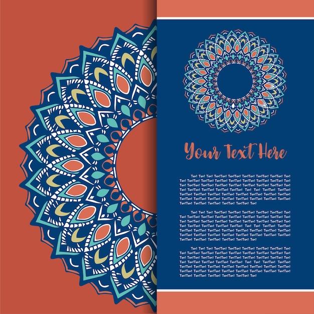 Mandala vintage sjabloon kaart Premium Vector