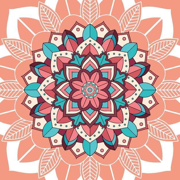 Mandalapatronen op bruine achtergrond Gratis Vector