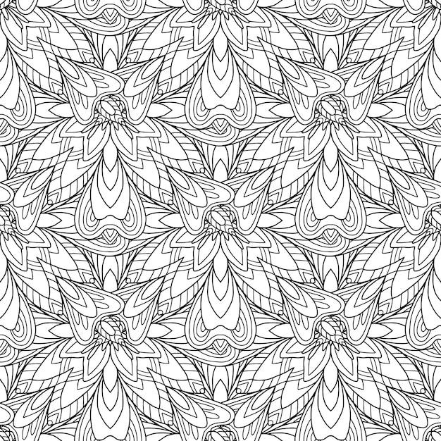 Mandat motief in zwart-witte bloem met allover-achtergrond Premium Vector
