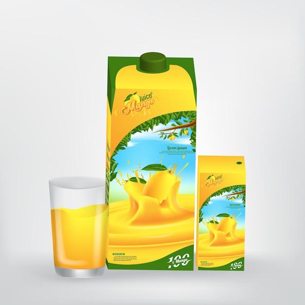 Mango juice product verpakking vector concept ontwerp Premium Vector