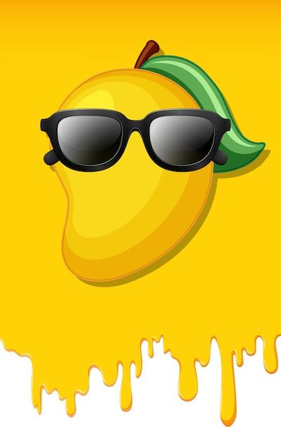 Mango op de gele achtergrond van de sappentextuur Premium Vector