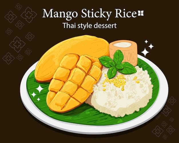 Mango plakkerige rijst thaise stijl dessert hand tekenen kunst illustratie premium vector Premium Vector