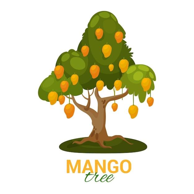 Mangoboom met geïllustreerde vruchten en bladeren Gratis Vector