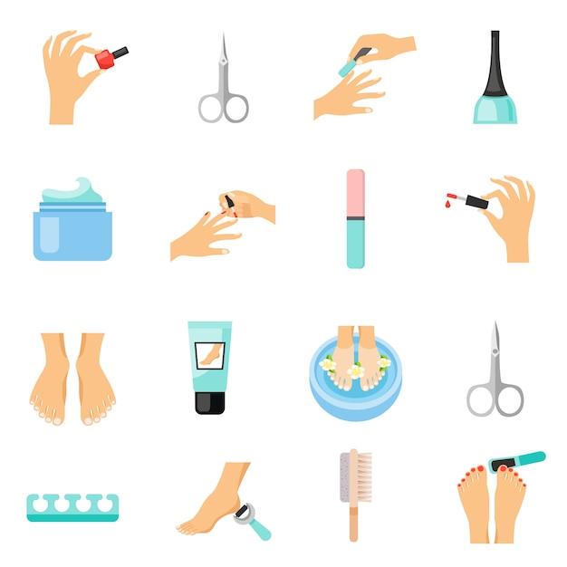 Manicure en pedicure plat pictogrammen instellen Gratis Vector