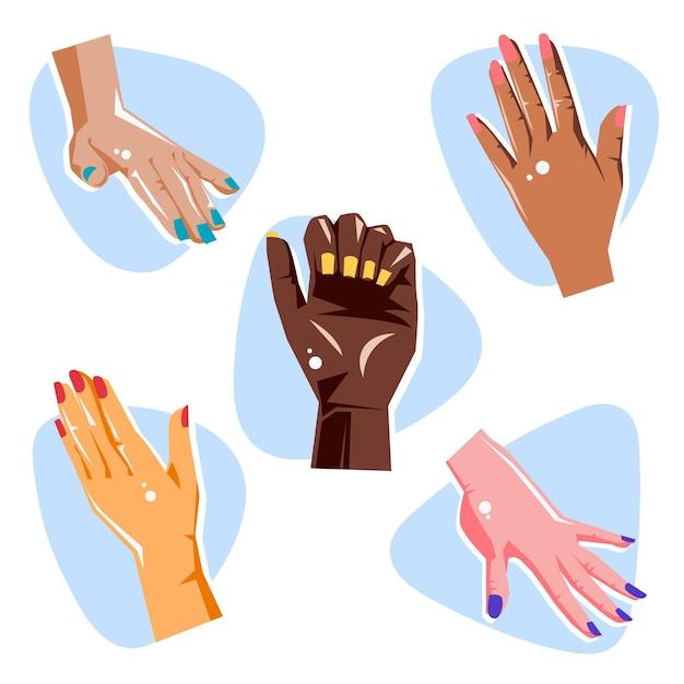 Manicure hand collectie concept Gratis Vector