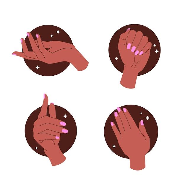 Manicure hand collectie ontwerp Gratis Vector