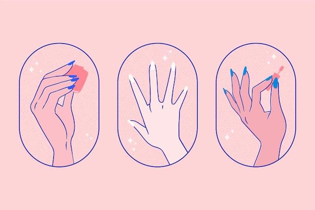 Manicure hand set Gratis Vector