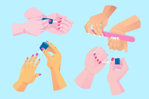 Manicure handcollectie Gratis Vector