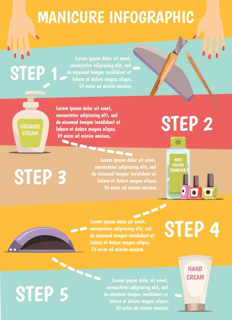 Manicure infographic set Gratis Vector