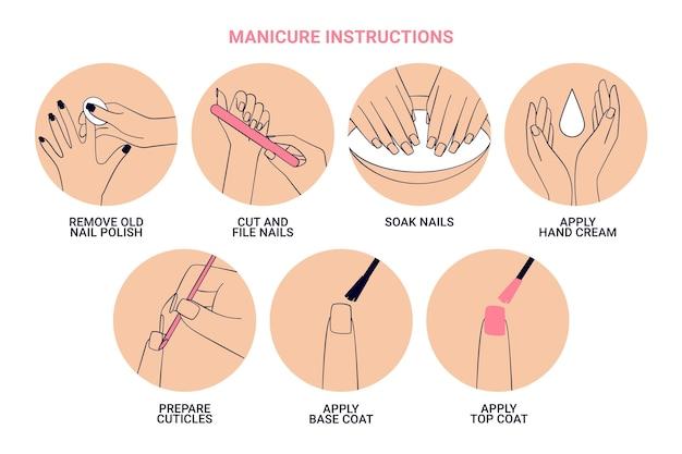 Manicure-instructies collectie Gratis Vector