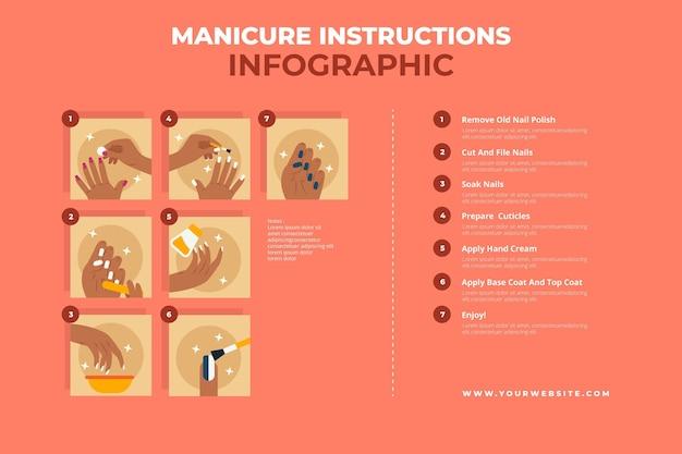Manicure instructies infographic Gratis Vector