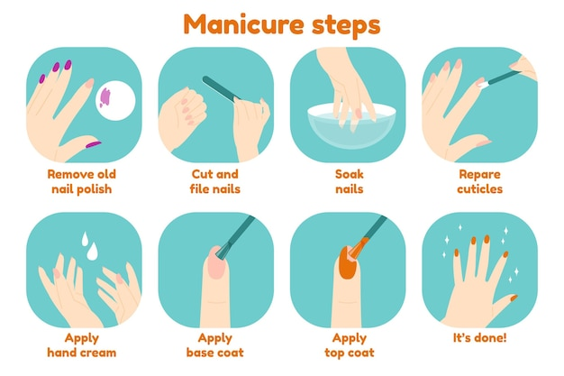 Manicure instructies infographic Gratis Vector
