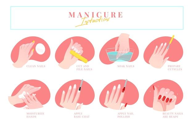 Manicure instructies Gratis Vector