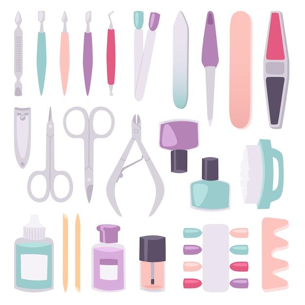 Manicure-instrumenten instellen cartoon stijl Premium Vector