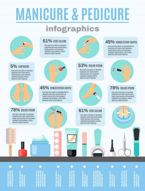 Manicure pedicure infographic elementen vlakke poster Gratis Vector