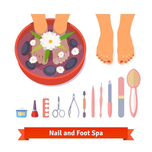 Manicure pedicure voet spa schoonheidszorg set Gratis Vector