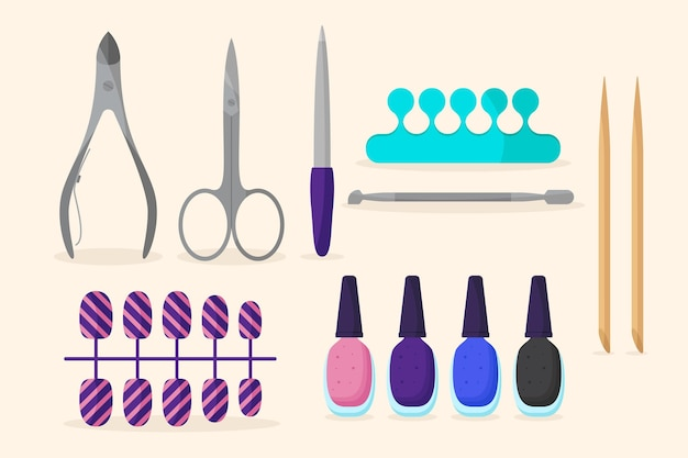 Manicure tools collectie concept Gratis Vector