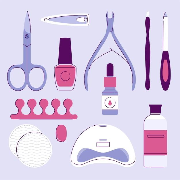 Manicure tools collectie geïllustreerd Gratis Vector