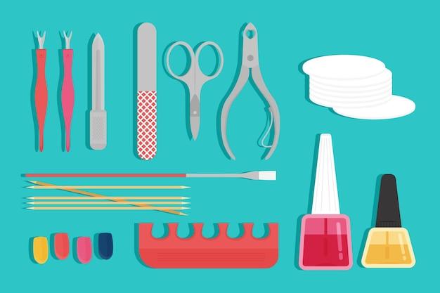 Manicure tools collectie Gratis Vector