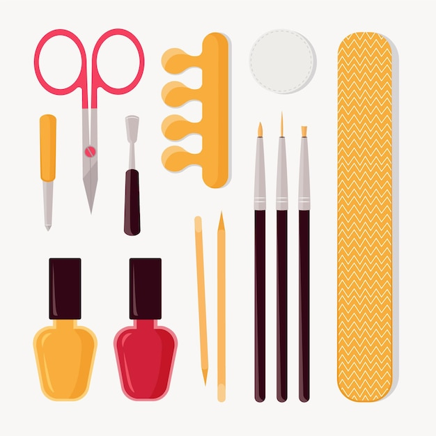 Manicure tools ingesteld Gratis Vector
