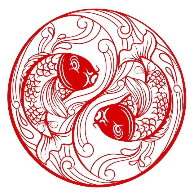 Manier chinese ying yang met vissen Gratis Vector