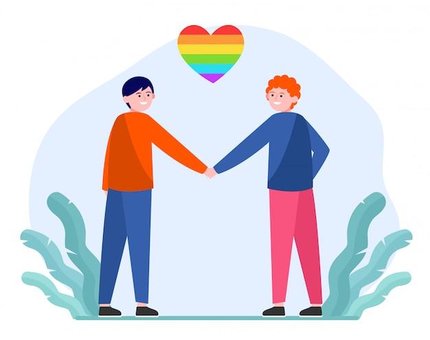 Mannelijk homopaar met regenbooghart Gratis Vector