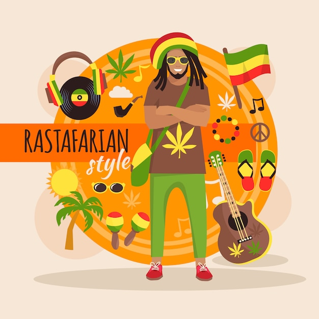 Mannelijk rastafari karakterpakket met stijlvolle accessoires en objecten Gratis Vector
