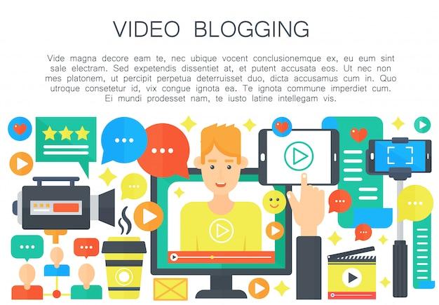Mannelijk videoblogger vlak concept Premium Vector