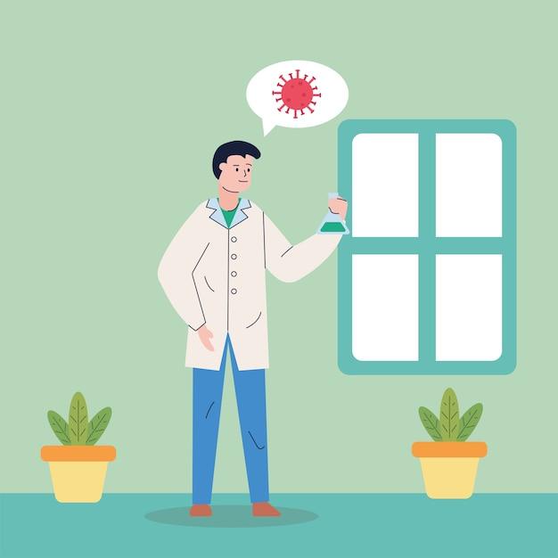 Mannelijk wetenschappelijk denken in covid19 onderzoeksvaccin Premium Vector