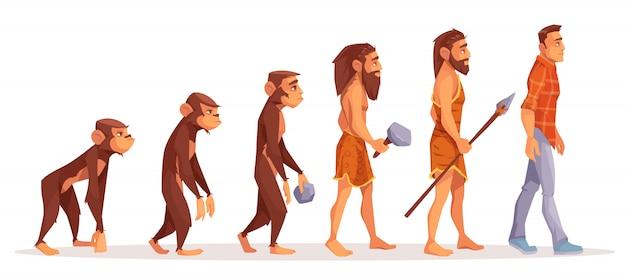Mannelijke aap, die rechte primaat, voorhistorische, steenleeftijdjager met primitief hulpmiddel en wapen loopt Gratis Vector