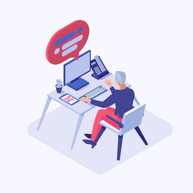 Mannelijke adviseur, werknemer, programmeur, projectmanager, beambte die aan computer werken Premium Vector