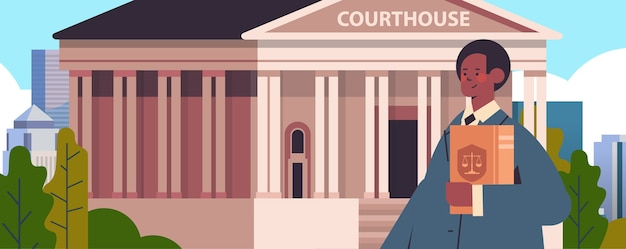 Mannelijke advocaat bedrijf rechter boek juridisch recht advies justitie concept gerechtsgebouw gebouw vooraanzicht portret horizontale vector illustratie Premium Vector