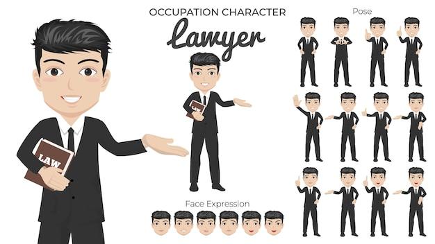 Mannelijke advocaat-tekenset met een verscheidenheid aan pose en gezichtsuitdrukking Premium Vector