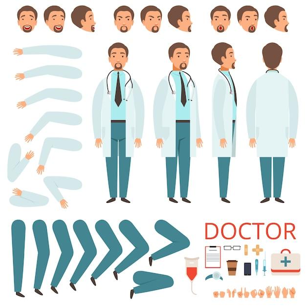 Mannelijke arts animatie, ziekenhuispersoneel karakter lichaamsdelen benen armen kleding gezondheidszorg items collectie Premium Vector