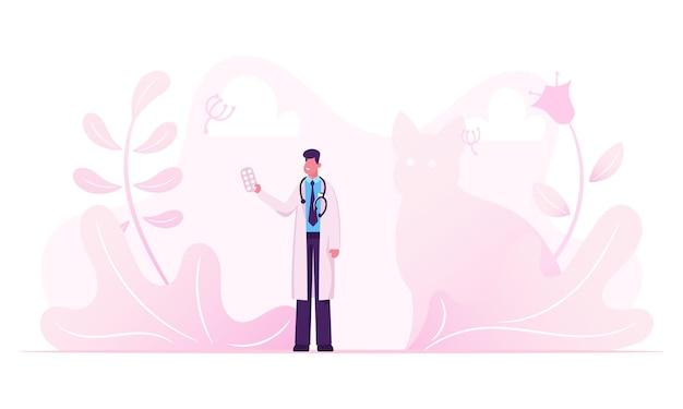 Mannelijke arts in witte medische mantel met een stethoscoop op de nek pillen blister in de hand te houden. cartoon vlakke afbeelding Premium Vector